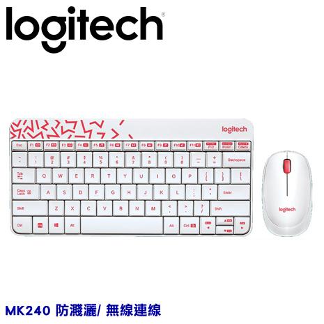 Logitech 羅技 MK240 Nano 白/紅邊 無線鍵鼠組