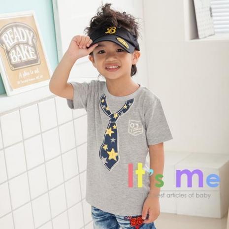 【最後出清】【It's Me】兒童星星造型假領帶上衣 灰色