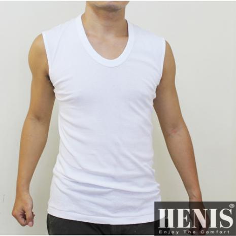 HENIS 時尚簡約純棉型男羅紋寬肩背心~6件組M