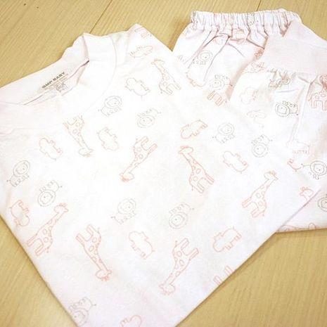 GMP BABY 舒適長頸鹿全棉圓領冷氣衫-粉紅1套(衣+褲)130
