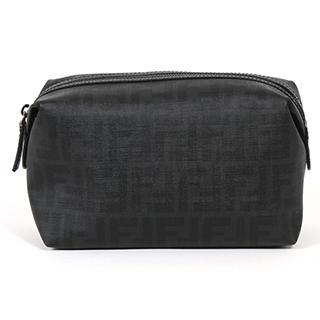 【FENDI】新款!經典雙F Logo PVC防潑水化妝包/萬用包(黑色 7N0072)