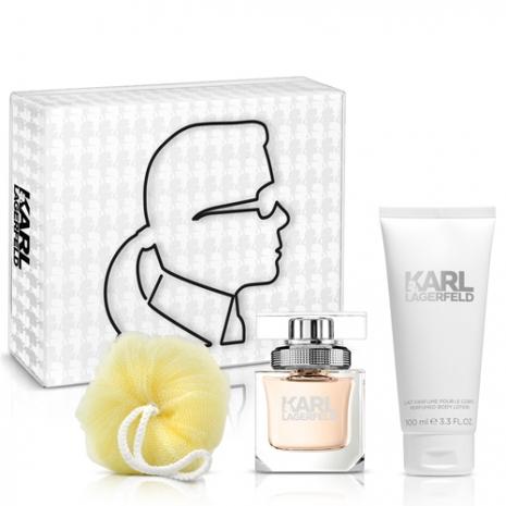 Karl Lagerfeld卡爾‧拉格斐 卡爾同名時尚女性淡香精禮盒(淡香精45ml+身體乳100m+沐浴球)-送針管+紙袋隨機款