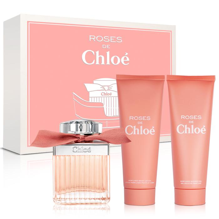 Chloe 玫瑰2016幸福雪橇限量禮盒(淡香水75ml+身體乳75ml+沐浴膠75ml)-送品牌紙袋