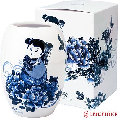 LSY 林三益 【娉婷】青花胖娃娃筆插瓷瓶(青衣娃娃)