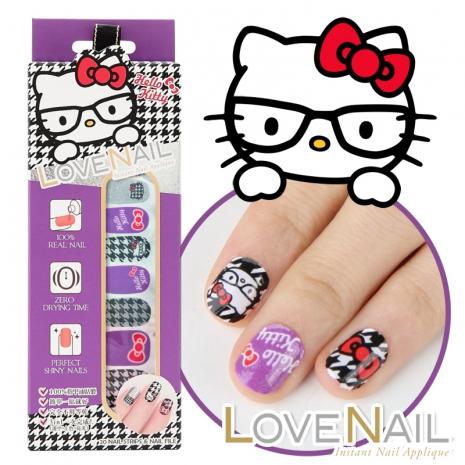 (聖誕禮盒組)【LOVE NAIL x Hello Kitty】 限定版指甲油貼-學院派千鳥格 (任選3入+贈水鑽磨甲棒)