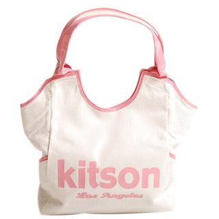 Kitson 經典LOGO亮片托特包(白底粉紅色)