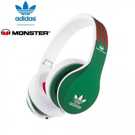 美國 Monster x adidas 聯名限量版耳罩式耳機(紅綠),公司貨,附保卡,一年保固-3C電腦週邊-myfone購物