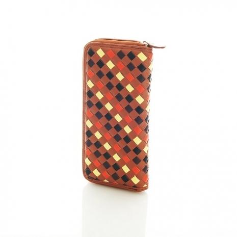 PORTMAN 法式設計皮革編織長夾(暗橘) PM11405