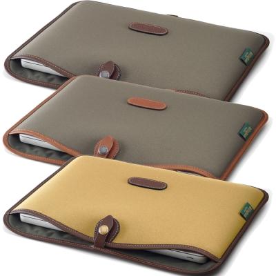 白金漢 Billingham Laptop Slip筆電專用袋/斜紋材質/13吋綠色/褐邊