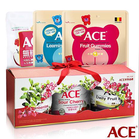 【ACE】 天然健康 堅果果乾綜合禮盒1盒+大包裝軟糖240g(3種口味各1包)