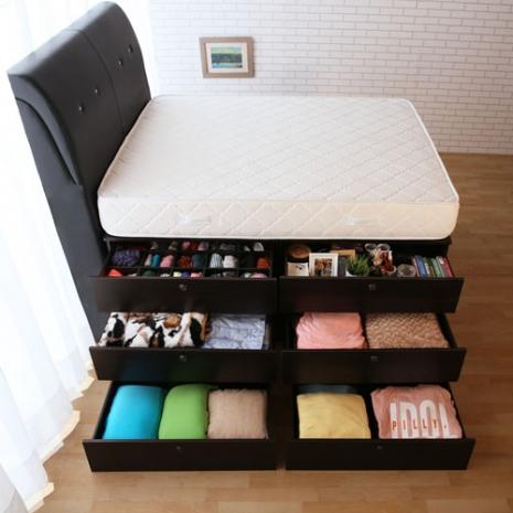 【契斯特】靠牆三層抽屜床底+床墊-胡桃色-雙人5x6尺