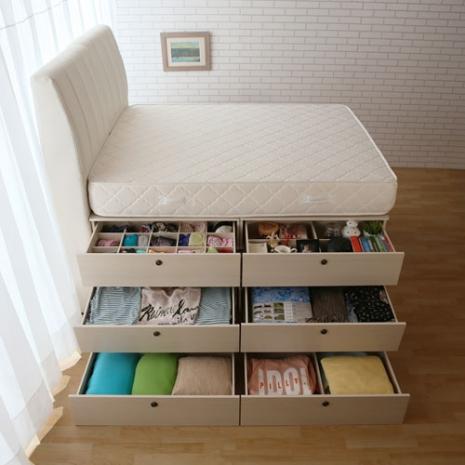 【契斯特】靠牆三層抽屜床底+床墊-復古白-雙人5x6尺