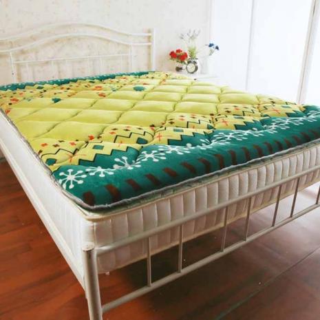 【契斯特】法蘭絨Q彈透氣日式收納床墊-雙人-嫩綠花芽(1.1折)