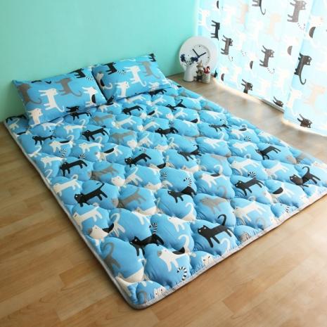 【ICEPAD】涼感精梳棉日式收納床墊-雙人-藍色喵喵