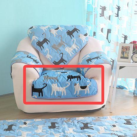 【ICE PAD】涼感精梳棉沙發布座墊-1人座椅面70*70-藍色喵喵
