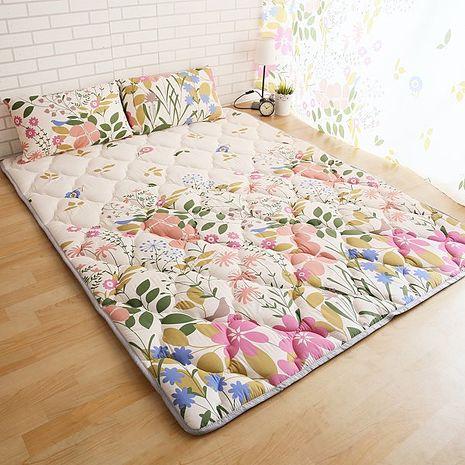【ICEPAD】涼感精梳棉日式收納床墊-加大-蝶飛舞