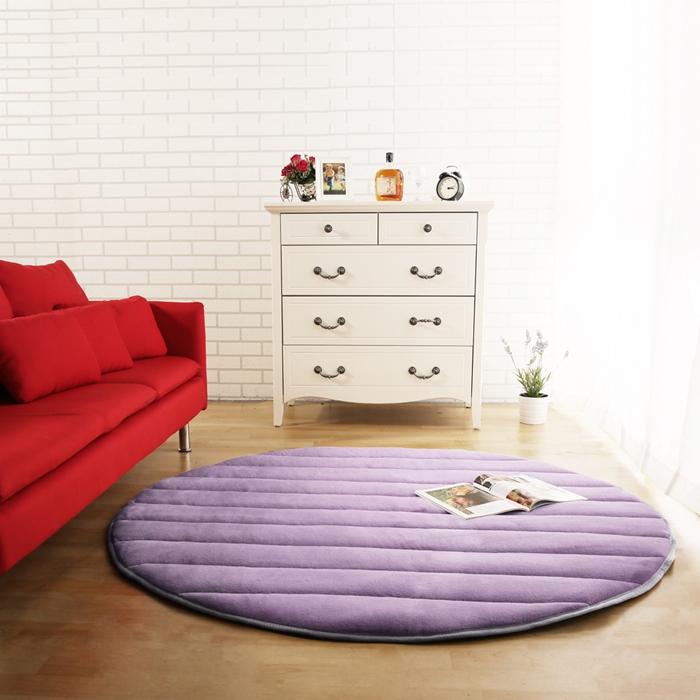 【HomeBeauty】細緻法蘭絨超厚款圓型超大地墊-直徑150cm-紫丁香