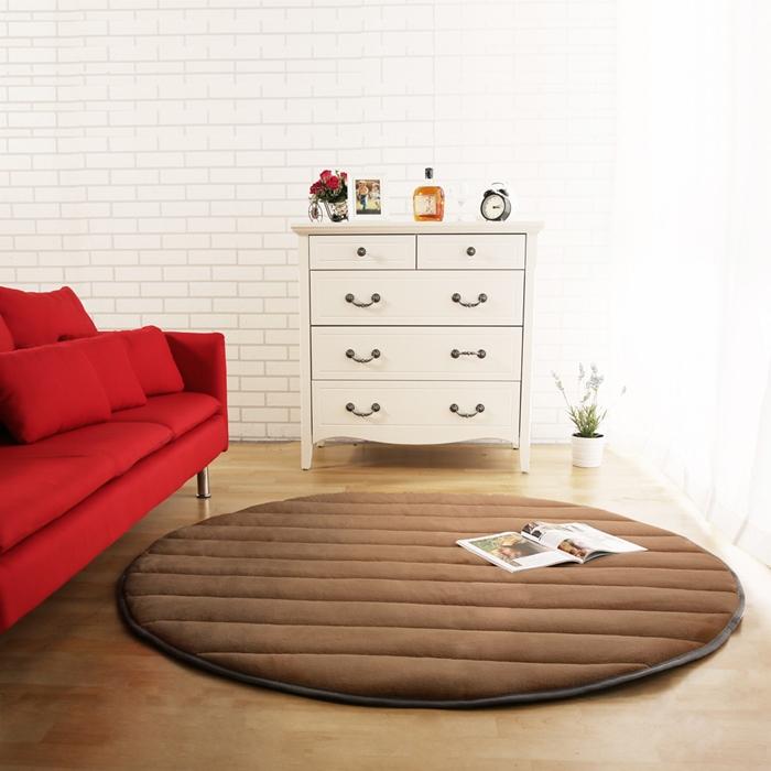 【HomeBeauty】細緻法蘭絨超厚款圓型超大地墊-直徑150cm-可可亞