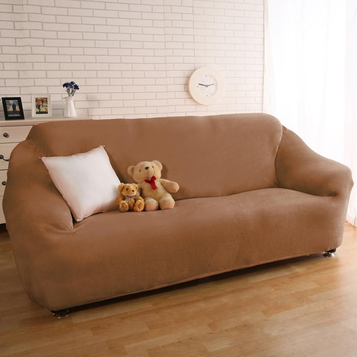 【HomeBeauty】頂級柔暖法蘭絨沙發罩-1+2+3人座-咖啡色