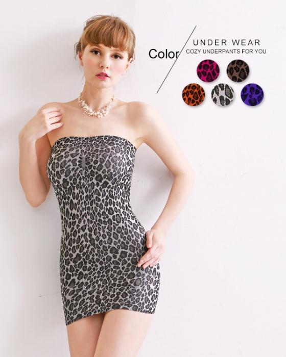 【黛瑪】MIT狂野豹紋性感平口連身束腰裙(5色)灰