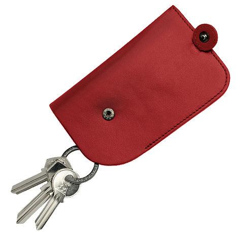 MONDAINE 瑞士國鐵隱藏式拉環牛皮鑰匙包-紅