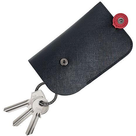 MONDAINE 瑞士國鐵隱藏式拉環牛皮鑰匙包-十字紋黑