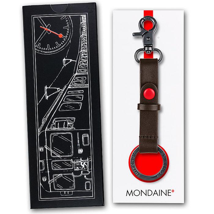 MONDAINE 瑞士國鐵牛皮雙扣環鑰匙圈-咖啡