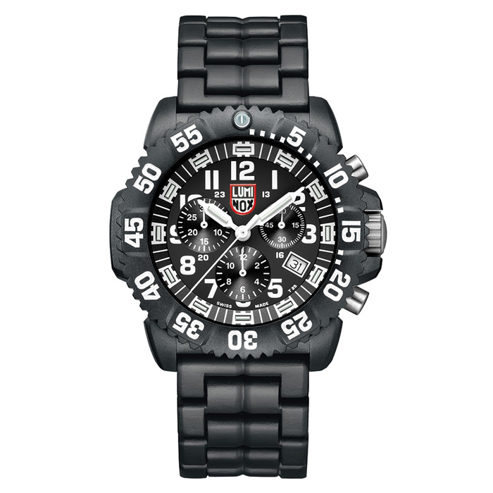 LUMINOX 雷明時 海豹部隊 超輕量三眼碳纖維鍊帶 腕錶-黑x白時標/44mm A3082