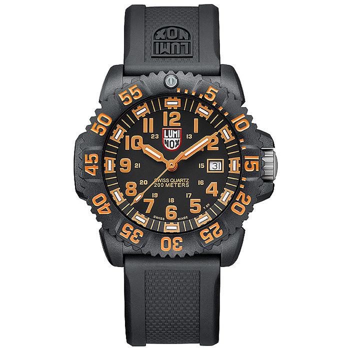 LUMINOX 雷明時 海豹部隊指標系經典腕錶-黑x橘時標/44mm A3059