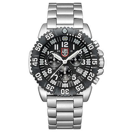 LUMINOX 雷明時 海豹部隊鐵漢計時系列 鋼鍊腕錶-黑x白時標/44mm A3182