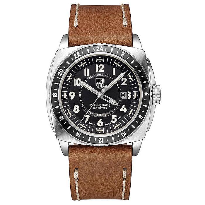 LUMINOX 雷明時P-38閃電式戰機 兩地時間紀念腕錶-黑x棕錶帶/44mm 9427