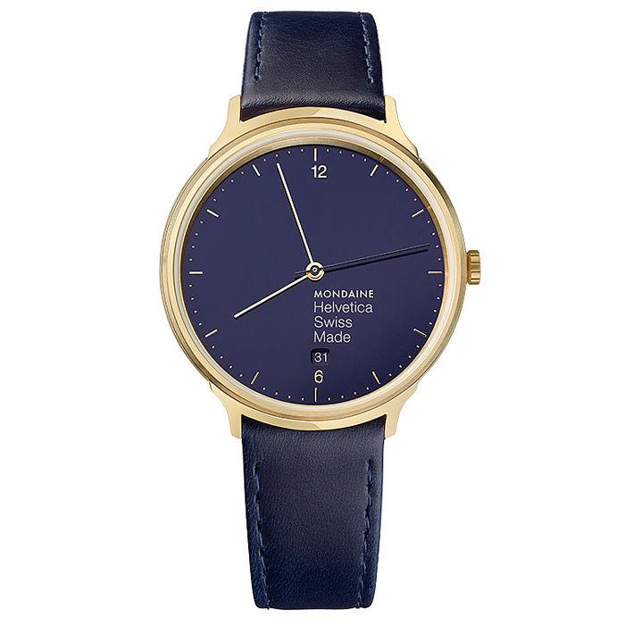 MONDAINE 瑞士國鐵Helvetica海軍藍限量腕錶-霧金框/38mm