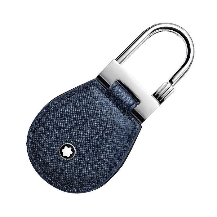 MONTBLANC 萬寶龍十字紋牛皮鑰匙圈-藍 113240