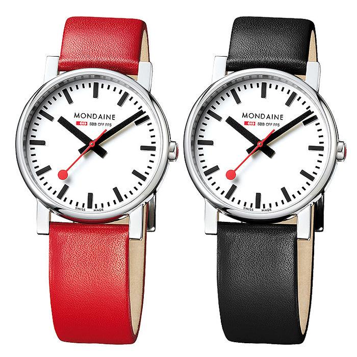MONDAINE 瑞士國鐵經典腕錶/35mm-紅/黑錶帶 任選(65811)黑錶帶