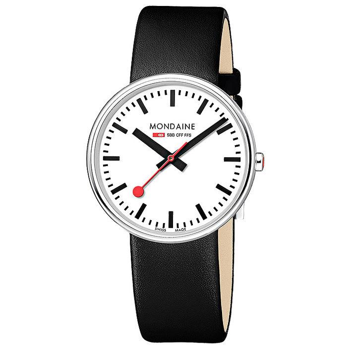 MONDAINE 瑞士國鐵MINI GIANT小巨人腕錶/35mm-黑/紅錶帶 任選(76311)黑錶帶