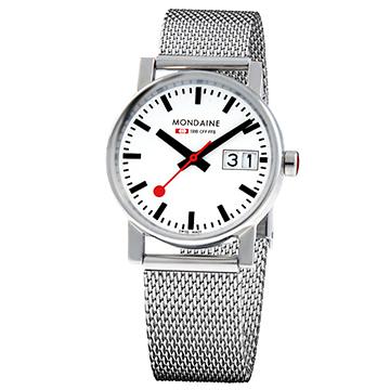 MONDAINE 瑞士國鐵時光走廊鋼鍊錶/30mm (66911SM)