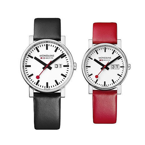 MONDAINE 瑞士國鐵時光走廊對錶/40+30mm-紅/黑錶帶任選 (62711+66911S)40mm紅+30mm黑