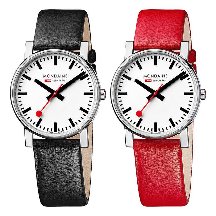 MONDAINE 瑞士國鐵經典時尚對錶/38mm-黑x紅錶帶 (6604411+6604411R)