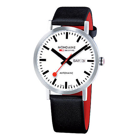 MONDAINE 瑞士國鐵藍寶石水晶雙視窗平面機械錶/40mm (13216)