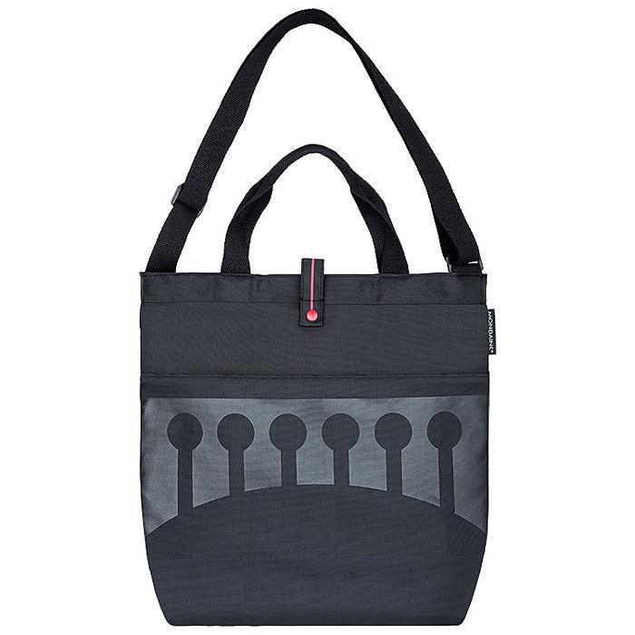 MONDAINE 瑞士國鐵手提肩背兩用摺疊包-瑞士拱橋 黑/藍 兩色任選【特賣】黑