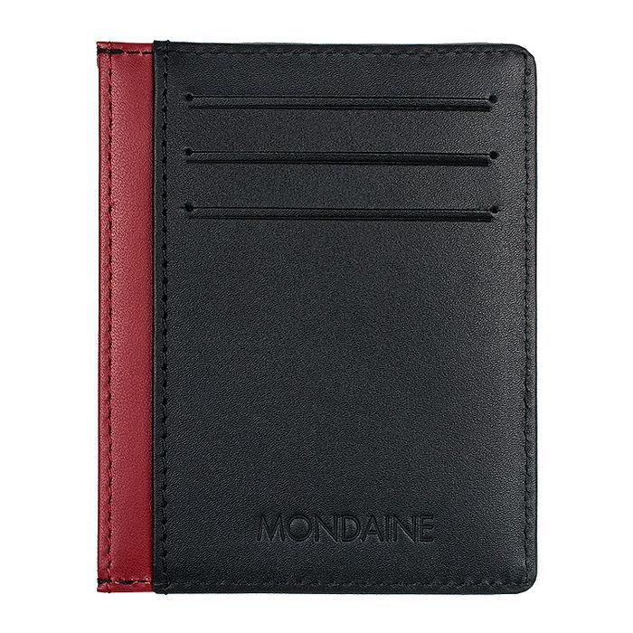 MONDAINE 瑞士國鐵牛皮6卡卡片夾-黑x紅