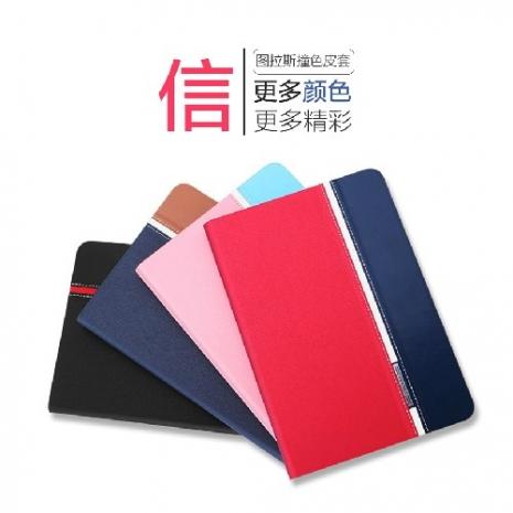 【TORRAS】APPLE iPad Air 2 (2代專用) 圖拉斯 信系列 撞色皮套 牛仔布+皮革拼接 全包邊 休眠喚醒 升級透氣版活力紅