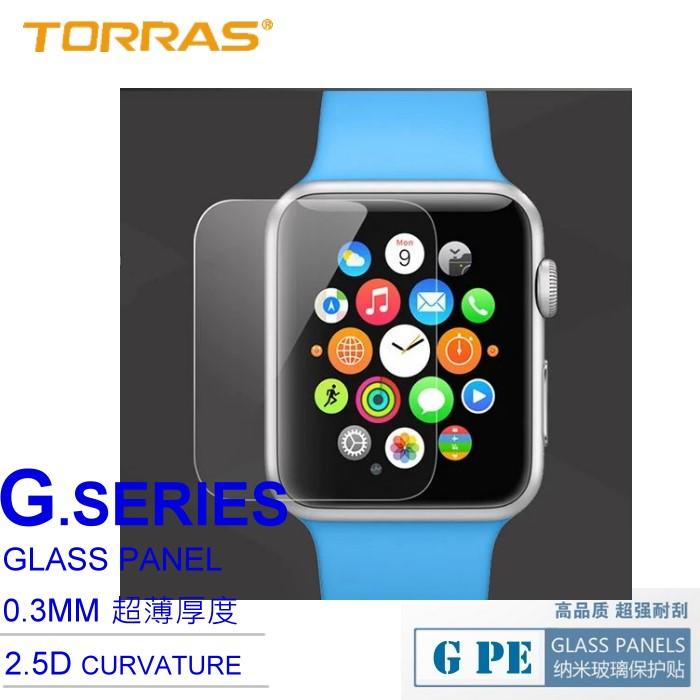 【TORRAS】Apple Watch iWatch 智慧手錶 專用 防爆鋼化玻璃貼 G PE 系列 9H硬度 2.5D導角 弧面切割