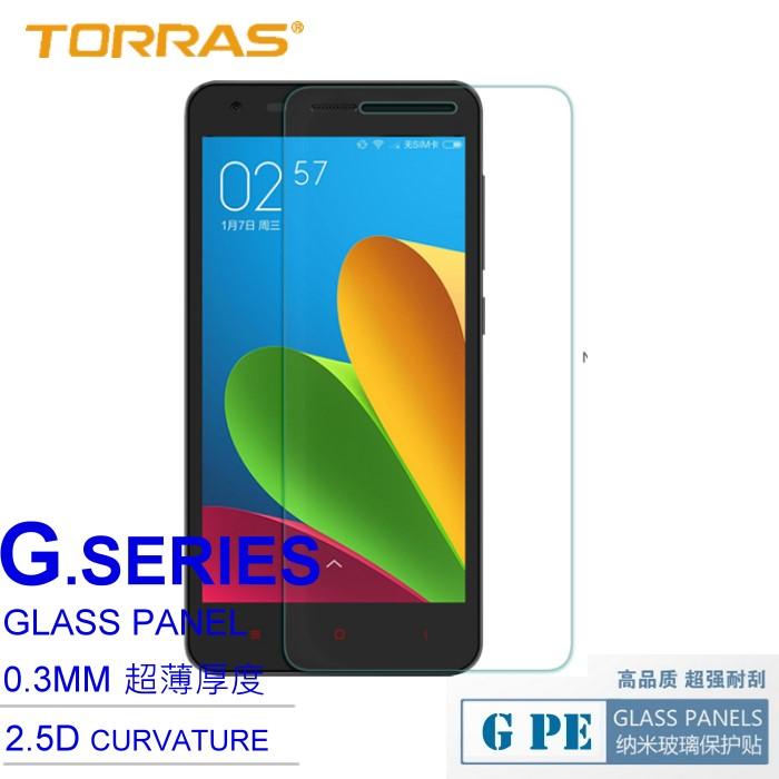 【TORRAS】小米 Xiaomi 紅米2 (2代專用) 防爆鋼化玻璃貼 G PE 系列 9H硬度 2.5D弧面切割 加送面條線