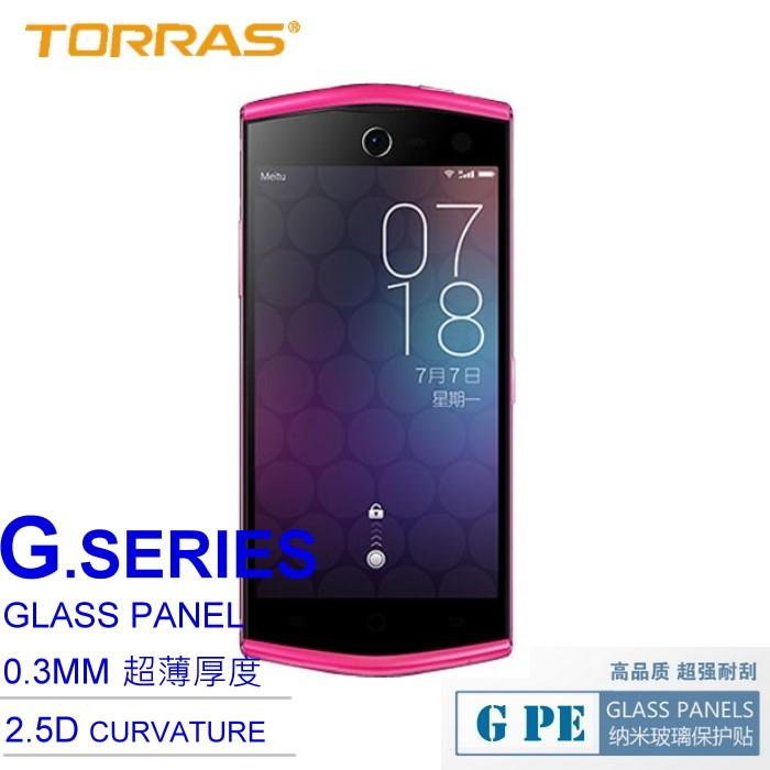 【TORRAS】Meitu 美圖手機 2 防爆鋼化玻璃貼 G PE 系列 9H硬度 0.3MM 2.5D導角 弧面切割 加送面條線