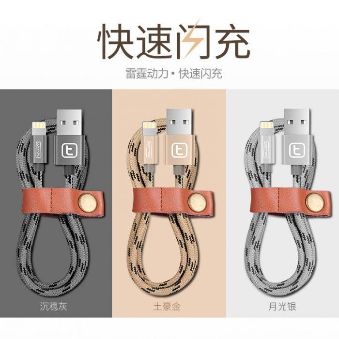 圖拉斯 閃電充 尼龍編織 數據線 全銅快充 皮革收納 iPhone6/6S Mini3/4 ipad air/2-手機平板配件-myfone購物
