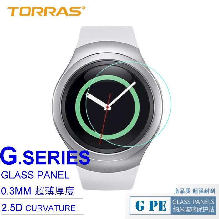 【TORRAS】Samsung Gear S2 CLASSIC 智慧錶 防爆鋼化玻璃貼 G PE 系列 9H硬度 超薄日本AGC玻璃 2.5D導角 加送面條線-手機平板配件-myfone購物