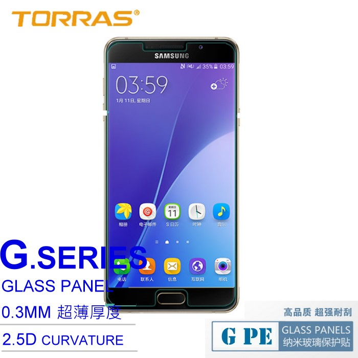 【TORRAS】Samsung A7 2016版 A710Y 防爆鋼化玻璃貼 G PE 系列 9H硬度 超薄日本AGC玻璃 2.5D導角 加送面條線