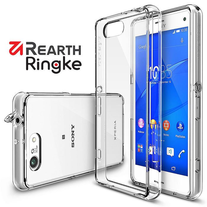 【Rearth Ringke】Xperia Z3 Compact (Z3C) Fusion 透明背蓋手機保護殼透黑