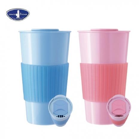【路易王子】樂活推蓋咖啡杯 LP-J5048藍